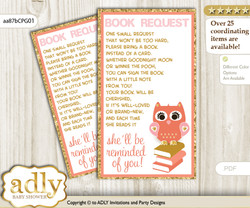 Request a Book Instead of a Card for Girl Owl Baby Shower or Birthday, Printable Book DIY Tickets, Gold, Coral Pink