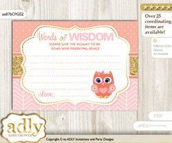 Coral Pink Girl Owl Words of Wisdom or an Advice Printable Card for Baby Shower, Gold