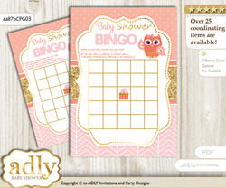 Printable Coral Pink Owl Bingo Game Printable Card for Baby Girl Shower DIY grey, Coral Pink, Gold