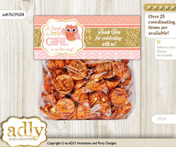 Printable Girl Owl Treat or Goodie bag Toppers for Baby Girl Shower or Birthday DIY Coral Pink, Gold