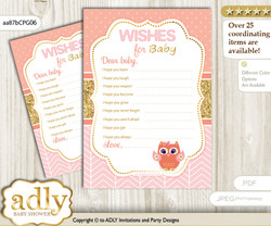 Girl Owl Wishes for a Baby, Well Wishes for a Little Owl Printable Card, Gold, Coral Pink