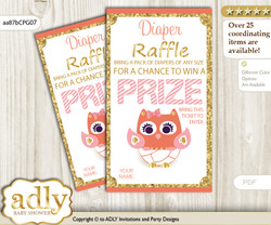 Girl Owl Diaper Raffle Printable Tickets for Baby Shower, Coral Pink, Gold