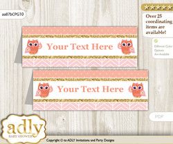 DIY Text Editable Printable Girl Owl Buffet Tags or Food Tent Labels  for a Baby Shower or Birthday , Coral Pink, Gold