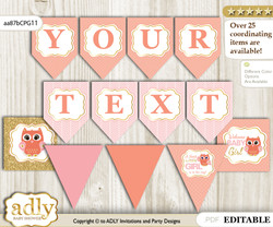 DIY Personalizable Girl Owl Printable Banner for Baby Shower, Coral Pink, Gold