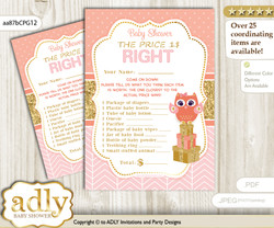 Printable Girl Owl Price is Right Game Card for Baby Owl Shower, Coral Pink, Gold