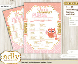 Girl Owl What is in Mommy's Purse, Baby Shower Purse Game Printable Card , Coral Pink,  Gold