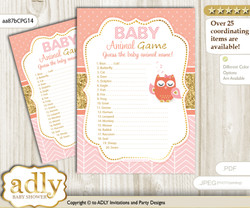 Printable Girl Owl Baby Animal Game, Guess Names of Baby Animals Printable for Baby Owl Shower, Coral Pink, Gold