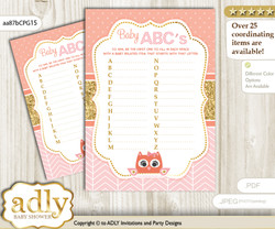 Girl Owl Baby ABC's Game, guess Animals Printable Card for Baby Owl Shower DIY – Gold
