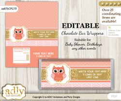 DIY Personalizable Girl Owl Chocolate Bar Candy Wrapper Label for Girl  baby shower, birthday Coral Pink , editable wrappers