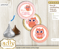 Printable  Girl Owl Candy Kisses for Baby Girl Shower DIY Coral Pink , Gold
