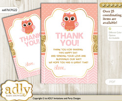 Girl  Owl Thank you Cards for a Baby Girl Shower or Birthday DIY Coral Pink, Gold