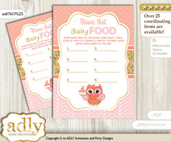 Girl Owl Guess Baby Food Game or Name That Baby Food Game for a Baby Shower, Coral Pink Gold