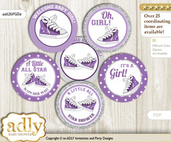 Baby Shower Girl Sneakers Cupcake Toppers Printable File for Little Girl and Mommy-to-be, favor tags, circle toppers, Sport, Purple Grey