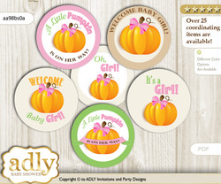 Baby Shower Girl Pumpkin Cupcake Toppers Printable File for Little Girl and Mommy-to-be, favor tags, circle toppers, Fall, Lime Pink