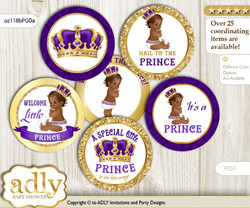 Baby Shower Royal Prince Cupcake Toppers Printable File for Little Royal and Mommy-to-be, favor tags, circle toppers, African, Purple Gold