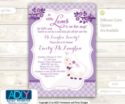 Purple Little Lamb Girl Baby Shower Invitation for a New Baby Girl, Printable Sheep/Lamb Card, lavender