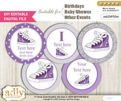 DIY Text Editable Girl Sneakers Cupcake Toppers Digital File, print at home, suitable for birthday, baby shower, baptism nn