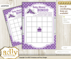 Printable Purple Grey Sneakers Bingo Game Printable Card for Baby Girl Shower DIY grey, Purple Grey, Sport