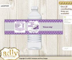 Girl Sneakers Water Bottle Wrappers, Labels for a Sneakers  Baby Shower, Purple Grey, Sport