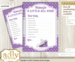 Girl Sneakers Wishes for a Baby, Well Wishes for a Little Sneakers Printable Card, Sport, Purple Grey