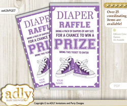 Girl Sneakers Diaper Raffle Printable Tickets for Baby Shower, Purple Grey, Sport