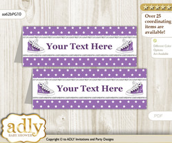 DIY Text Editable Printable Girl Sneakers Buffet Tags or Food Tent Labels  for a Baby Shower or Birthday , Purple Grey, Sport