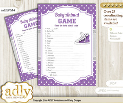 Printable Girl Sneakers Baby Animal Game, Guess Names of Baby Animals Printable for Baby Sneakers Shower, Purple Grey, Sport