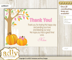 Girl Pumpkin Thank you Printable Card with Name Personalization for Baby Shower or Birthday Party n
