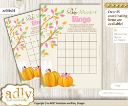 Printable Lime Pink Pumpkin Bingo Game Printable Card for Baby Girl Shower DIY grey, Lime Pink, Fall