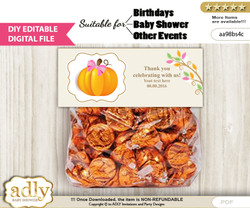 DIY Text Editable Girl Pumpkin Goodie  Treat Bag Toppers, Favor Bag Digital File, print at home