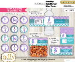 DIY Text Editable Girl Seahorse Baby Shower, Birthday digital package, kit-cupcake, goodie bag toppers, water labels, chocolate bar wrappers