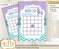 Printable Purple Teal Seahorse Bingo Game Printable Card for Baby Girl Shower DIY grey, Purple Teal, Summer