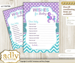 Girl Seahorse Wishes for a Baby, Well Wishes for a Little Seahorse Printable Card, Summer, Purple Teal