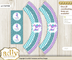 Printable Girl Seahorse Cupcake, Muffins Wrappers plus Thank You tags for Baby Shower Purple Teal, Summer