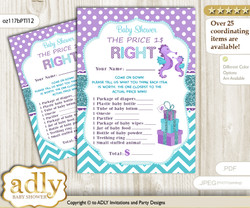 Printable Girl Seahorse Price is Right Game Card for Baby Seahorse Shower, Purple Teal, Summer