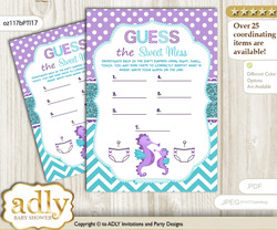 Girl Seahorse Dirty Diaper Game or Guess Sweet Mess Game for a Baby Shower Purple Teal, Summer