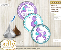Printable  Girl Seahorse Candy Kisses for Baby Girl Shower DIY Purple Teal , Summer
