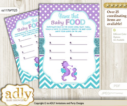 Girl Seahorse Guess Baby Food Game or Name That Baby Food Game for a Baby Shower, Purple Teal Summer