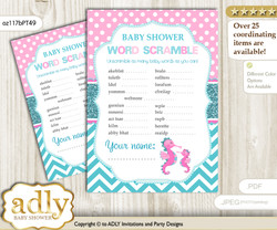 Girl Seahorse Word Scramble Game for Baby Shower n