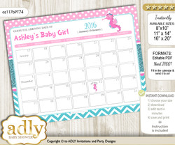 DIY Girl Seahorse Baby Due Date Calendar, guess baby arrival date game n