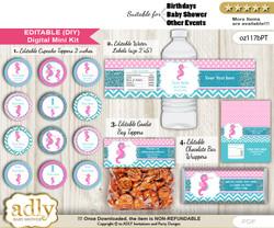 DIY Text Editable Girl Seahorse Baby Shower, Birthday digital package, kit-cupcake, goodie bag toppers, water labels, chocolate bar wrappers n