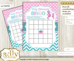 Printable Pink teal Seahorse Bingo Game Printable Card for Baby Girl Shower DIY grey, Pink teal, Glitter