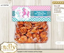 Printable Girl Seahorse Treat or Goodie bag Toppers for Baby Girl Shower or Birthday DIY Pink teal, Glitter
