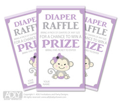 Girl  Monkey Diaper Raffle Printable Tickets for Baby Shower,  Grey,  Purple