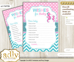Girl Seahorse Wishes for a Baby, Well Wishes for a Little Seahorse Printable Card, Glitter, Pink teal