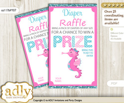 Girl Seahorse Diaper Raffle Printable Tickets for Baby Shower, Pink teal, Glitter