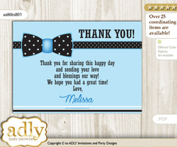 Boy Bow tie  Thank you Card with Personalization Boy Bow tie  Baby Shower or Birthday Card DIY - aa86bsB1
