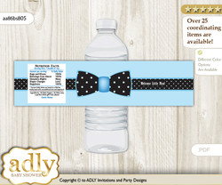 Boy Bow tie Baby Shower Water Bottle Wrappers, water Label, - it's a Boy Blue Black, Dots - aa86bsB5