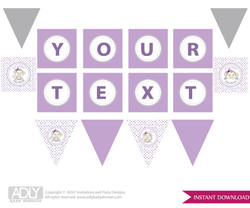 Personalized  Girl  Monkey  Printable Banner for Baby Shower, Grey,  Purple