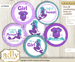 Baby Shower Sea Mermaid Cupcake Toppers Printable File for Little Sea and Mommy-to-be, favor tags, circle toppers, Glitter, Purple Teal